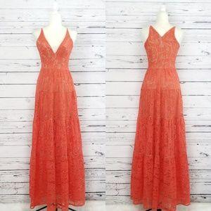 Dress The Population Melina orange lace maxi dres